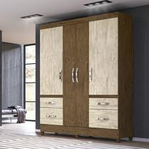 Guarda Roupa Londres 4 portas Moval - Castanho Wood/Avelã Wood - Moval -