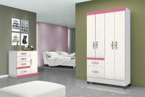 Guarda roupa moval madri branco / rosa / azul / lilas -