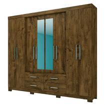 Guarda Roupa San Lorenzo C/ Espelhos Castanho Wood - Moval móveis