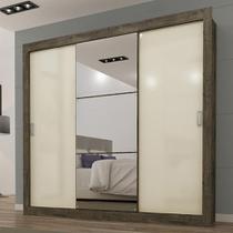 Guarda Roupa Smart - 3 Espelhos Nogal Tex/ Off White Maxel -