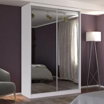 Guarda-Roupa Solteiro 2 Portas com 2 Espelhos 100% MDF Branco Foscarini -