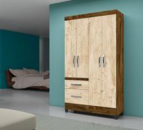 Guarda Roupa Solteiro 4 portas 2 gavetas Madri Sem Espelho Moval Castanho Wood/ Avelã -