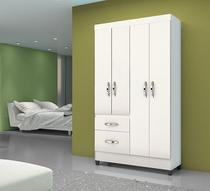 Guarda Roupa Solteiro 4 portas 2 gavetas Sem Espelho Madri Moval Branco - Branco/Rosa/Azul/Lilas Flex -