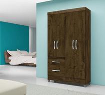 Guarda Roupa Solteiro 4 portas 2 gavetas Sem Espelho Madri Moval Castanho Wood -