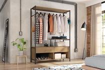 Guarda roupa solteiro barcelona minimalista marrom preto - artefamol