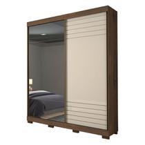 Guarda-roupa Solteiro Bia 2 portas 100% MDF com Espelho Cafe/Off White - 160cm - Panan