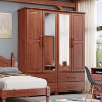 Guarda-Roupa Solteiro Bipartido Linha Ouro Imbuia 4 Portas Espelhos e 4 Gavetas Madeira Maciça Pinus - Finestra -