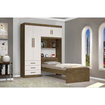 Guarda Roupa Solteiro com Cabeceira 4 Portas Cancun J&A Móveis Jequitiba/ Off White -