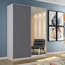 Guarda Roupa Solteiro com Espelho 2 Portas de Correr Terrazo Espresso Móveis Branco/Cinza -