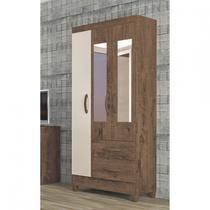 Guarda Roupa Solteiro com Espelho 3 Portas 2 Gavetas Real Light Atualle Móveis Mocaccino Rústico/Natura Off White -