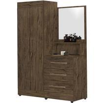 Guarda-Roupa Solteiro com Espelho Penteadeira 2 Portas Onix Luxo -Móveis Primus -
