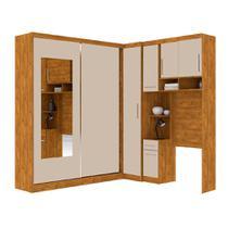 Guarda roupa solteiro de canto com espelho, 6 portas, muitos nichos e 4 gavetas Nature Off White - Robel