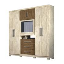 Guarda Roupa Solteiro Dubai 6P Com Espelho Castanho Avela Wood Moval -