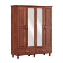 Guarda-Roupa Solteiro Linha Bronze Imbuia 04 Portas Espelhos 02 Gavetas Madeira Maciça Pinus - Finestra -