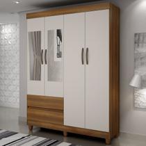 Guarda-roupa Solteiro Porto 4 Portas 2 Gavetas Com Espelho Nogal/off White  Sallêto Móveis -