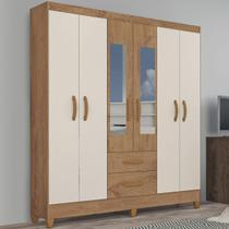 Guarda-roupa Solteiro Real 6 Portas 2 Gavetas Com Espelho Canelato Rústico/natura Off White - Atualle Móveis