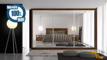 Guarda-roupa Toronto casal 3 Portas 6 Gavetas com 3 Espelhos Costa 3mm Braúna - Móveis Europa