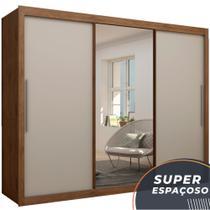 Guarda Roupas de Casal com Espelho Real Gelius Madeirado / Madeirado / Off White 3 Pts Correr -