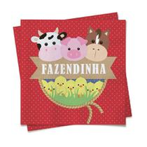Guardanapo Bichinhos Fazendinha 20 unidades Cromus - festabox