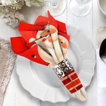 Guardanapo de Natal Papai Noel na Chaminé - Love Decor