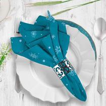 Guardanapo de Tecido Poá com Flocos de Neve Azul - Love Decor