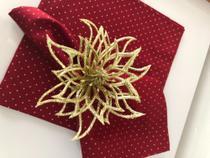 Guardanapo de tecido vermelho com poá tricoline 100% algodão - Trem Bão Casa