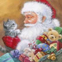 Guardanapo Decorado Natal Papai Noel com Gato 33cm - Ti-Flair