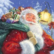 Guardanapo Decorado Natal Papai Noel com Presentes 33cm - Ti-Flair