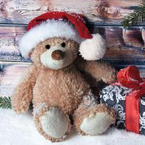 Guardanapo Decorado Natal Urso com Papai Noel 33cm - Ti-Flair