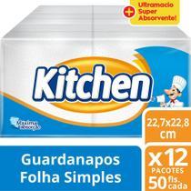 Guardanapo Kitchen Folha Simples 12 Pacotes 22X22 Cm Com 50 Folhas Cada -