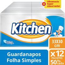 Guardanapo Kitchen Folha Simples 12 Pacotes 33X30 Cm Com 50 Folhas Cada -
