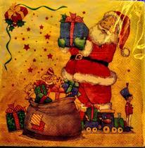 Guardanapo papel natal 20fls - papai noel com presentes - Pet Patao