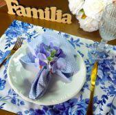 Guardanapo Poá Médio  Azul Claro com Branco - Maria Bonita Mesa E Decor
