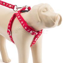 Guia Com Peitoral Ajustavel Patas N.3 Vermelho - Dog Horse