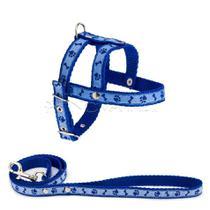Guia Com Peitoral Patinhas N.1 - Azul - Dog Horse