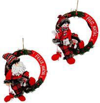 Guirlanda de sisal feliz natal com noel / boneco com saco de presente 35cm de ø - Rio Master