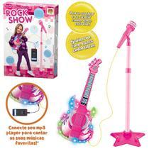 Guitarra com Microfone Musical Infantil Rock Show com Pedestal Rosa e Cabo P2 e Luz a Pilha - Kopeck