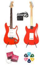 Guitarra eletrica land vermelha l-g1 cubo \'5 encordoamento palheta -