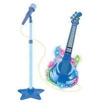 Guitarra Infantil c/ Microfone Luz Som Notas Musicais Azul - DM Toys