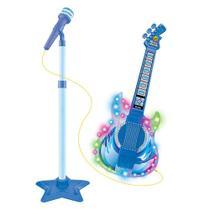 Guitarra Infantil Com Microfone Pedestal Toca MP3 Com Luz e Som - Azul - Dm Toys
