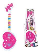Guitarra Infantil Musical Coração Rosa Com Som E Luz Meninas - Art brink