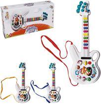 Guitarra musical infantil animais da fazenda colors com luz a pilha na caixa wellkids - Wellmix