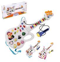 Guitarra musical infantil animais da fazenda com microfone colors + luz a pilha - Wellmix