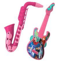 Guitarra pandeiro e saxofone princesas kit bandinha infantil disney 2 peças mini - Etitoys