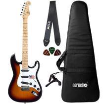 Guitarra Strato SX SST ALDER 3TS Sunburst Capa Correia Capo - Shelter