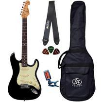 Guitarra Strato SX SST62 Preto Vintage Capa Correia Afinador - Shelter