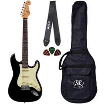 Guitarra Stratocaster SX SST62 BK Preto Vintage Capa Correia - Shelter