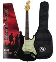 Guitarra Sx Vintage Sst62 Bk Preta Com Capa Bag -