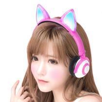Headfone fone ouvido gatinho c/ pisca led - hf-c30 - rosa - Exbom