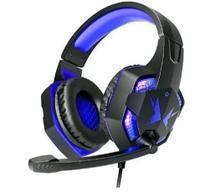 Headfone gamer usb/p2 com led e microfone hf-g600 azul - Exbom